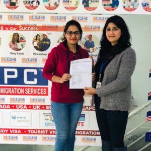 Miss. Harleen Kaur Australia Study Visa